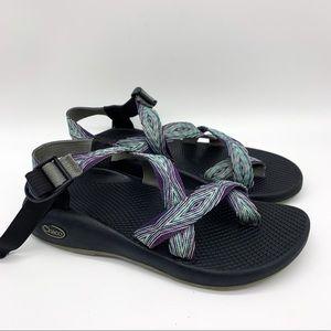 CHACO purple green single strap sandals, 9.